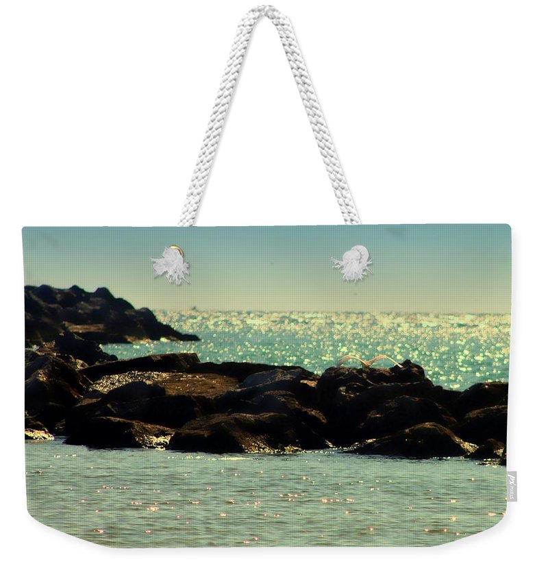 Florida Weekender Tote Bag featuring the photograph The Jetties by Debra Forand