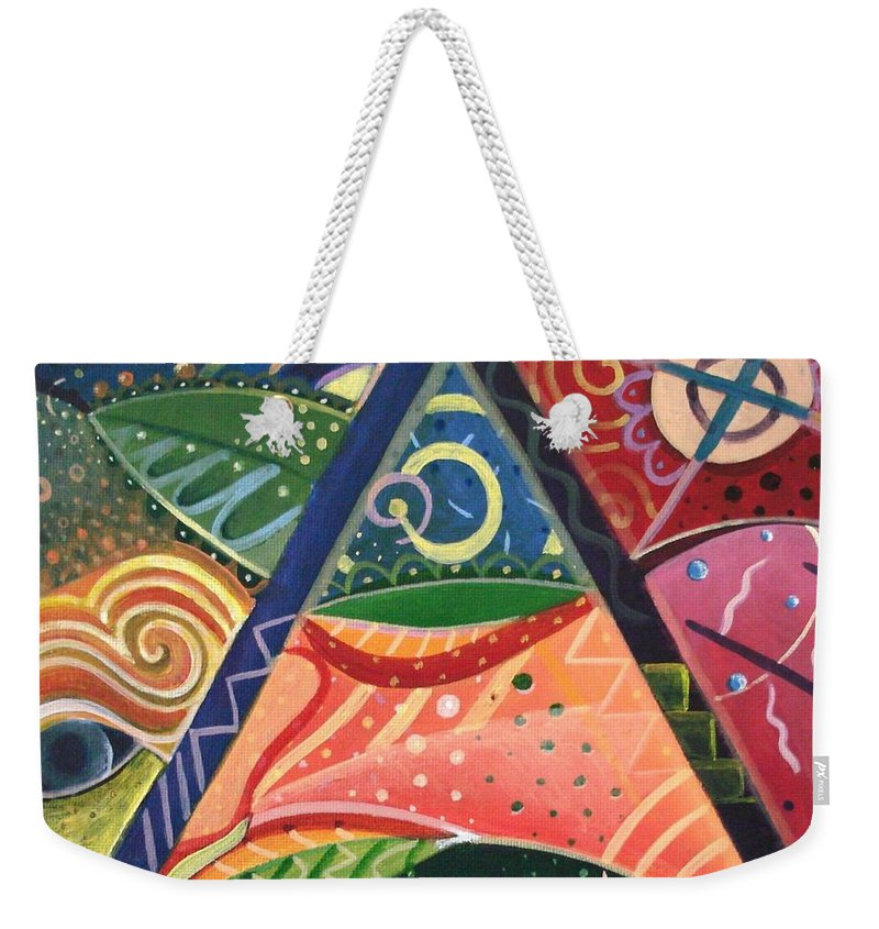 Abstract Weekender Tote Bag featuring the painting The Joy Of Design V Part 2 by Helena Tiainen