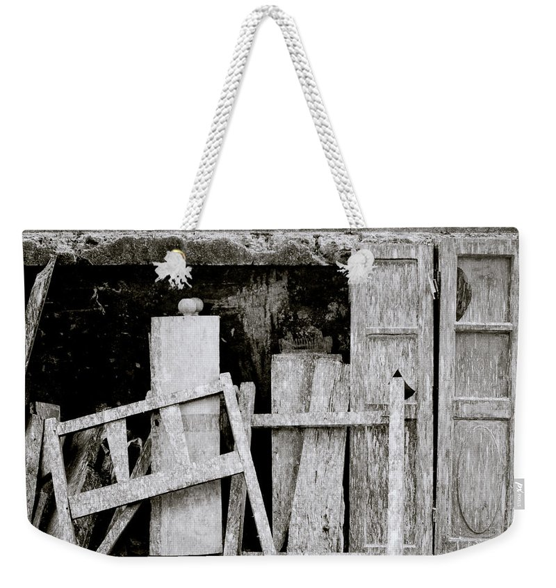 Still Life Weekender Tote Bag featuring the photograph Urban Junk by Shaun Higson
