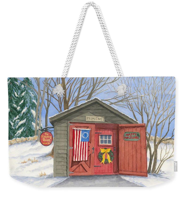 Barn Weekender Tote Bag featuring the painting The Keeping Room by Rhonda Leonard