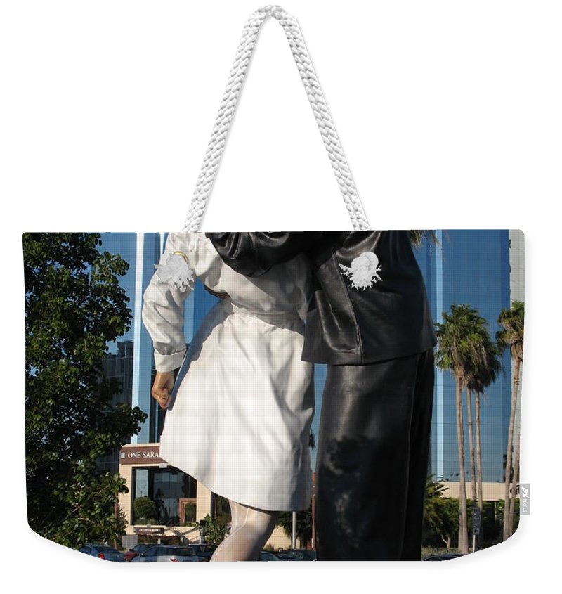 Sailor Weekender Tote Bag featuring the photograph The Kiss - Sailor And Nurse - Sarasota by Christiane Schulze Art And Photography
