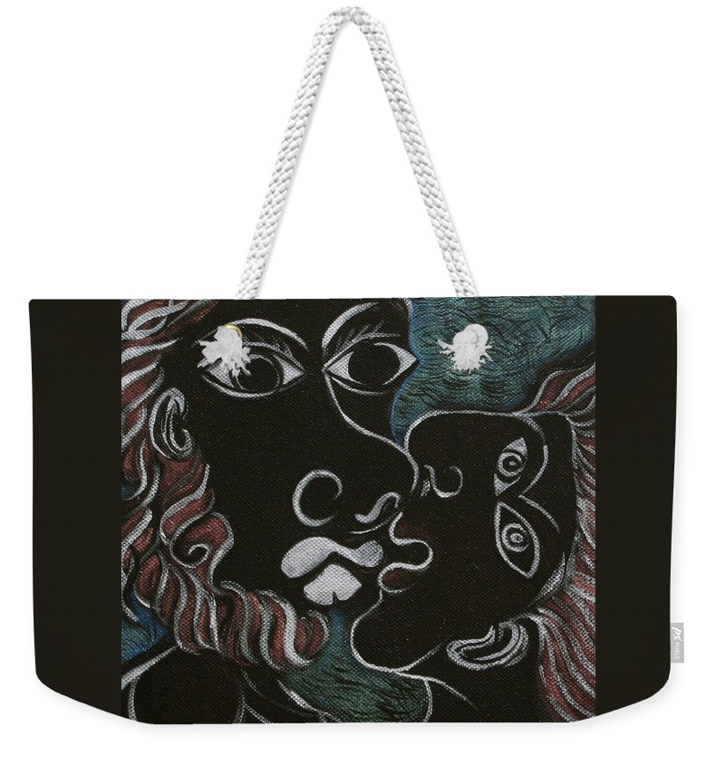 Original Weekender Tote Bag featuring the painting The Kiss by Sue Wright