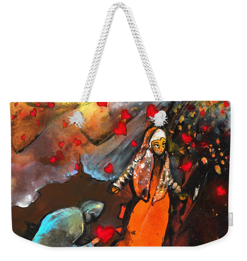 Valentine Weekender Tote Bag featuring the painting The Knight Of Your Heart by Miki De Goodaboom