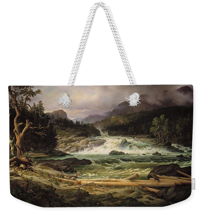 Thomas Fearnley Weekender Tote Bag featuring the painting The Labro Falls At Kongsberg by Thomas Fearnley