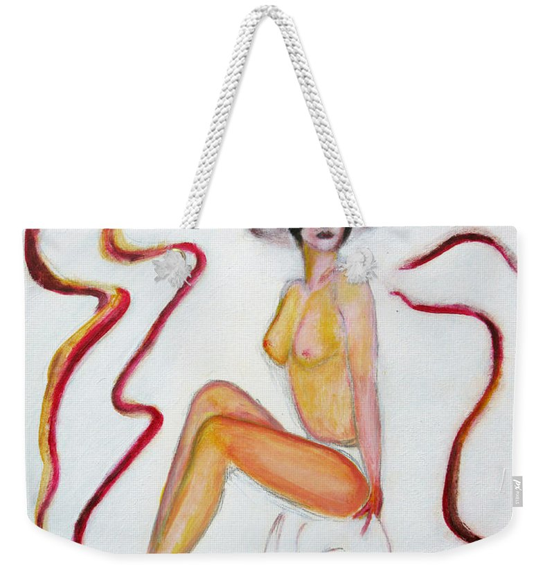 Glamour Weekender Tote Bag featuring the painting The Lady In Red High Heels by Tom Conway