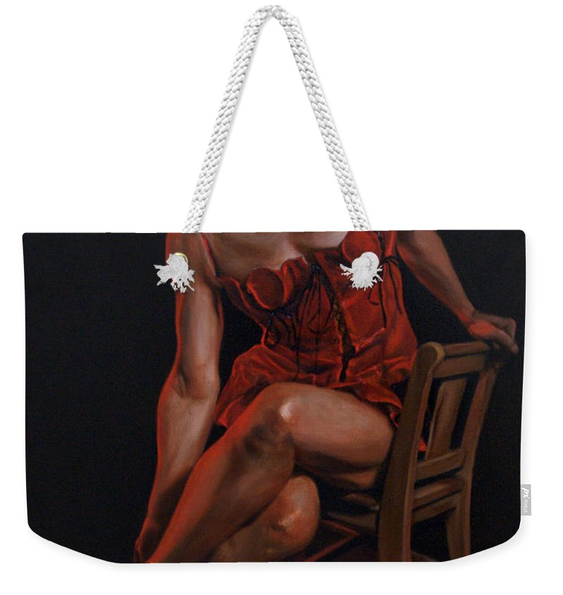 Lady Weekender Tote Bag featuring the painting The Lady In Red by Mountain Dreams