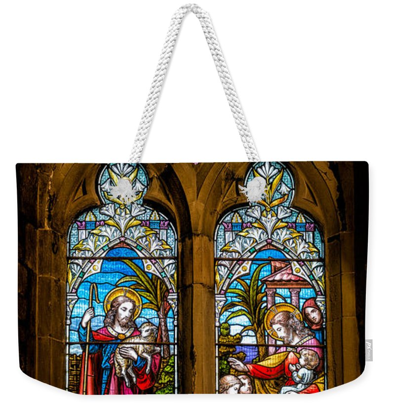 Stained Glass Weekender Tote Bag featuring the photograph The Lambs by Adrian Evans