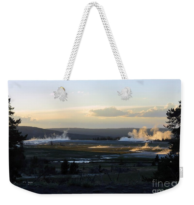 Geysers Weekender Tote Bag featuring the photograph The Land Of Geysers. Yellowstone by Ausra Huntington nee Paulauskaite
