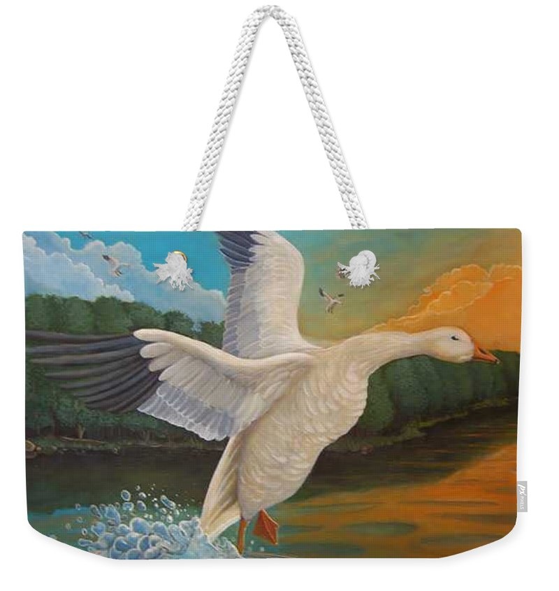 Rick Huotari Weekender Tote Bag featuring the painting The Landing by Rick Huotari