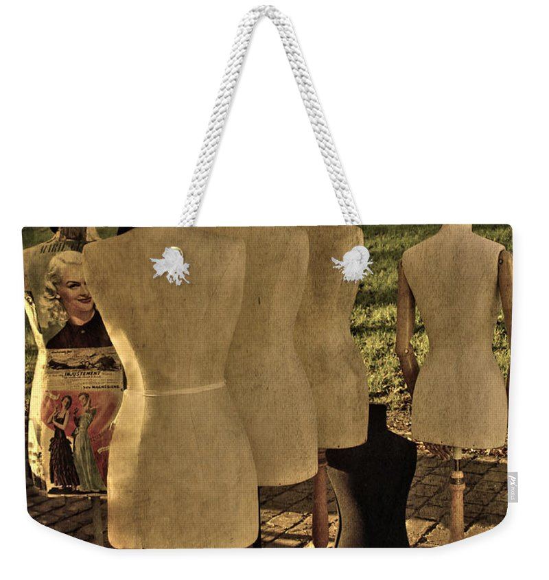 Mannequins Weekender Tote Bag featuring the photograph The Last Fashion Show- Old Mannequins by Guna Andersone