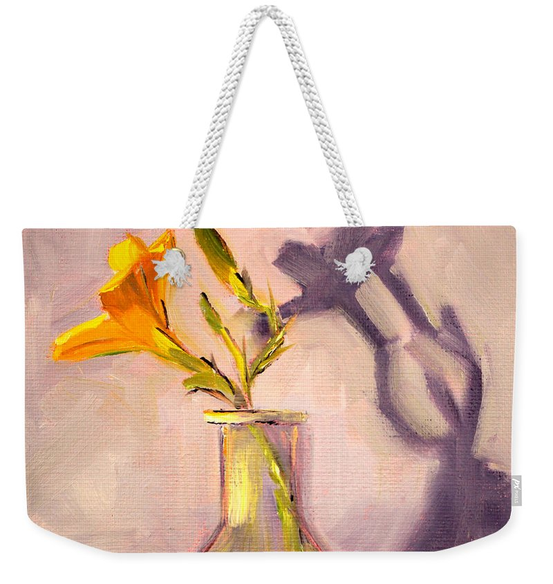 Lily Flower Weekender Tote Bag featuring the painting The Last Lily by Nancy Merkle