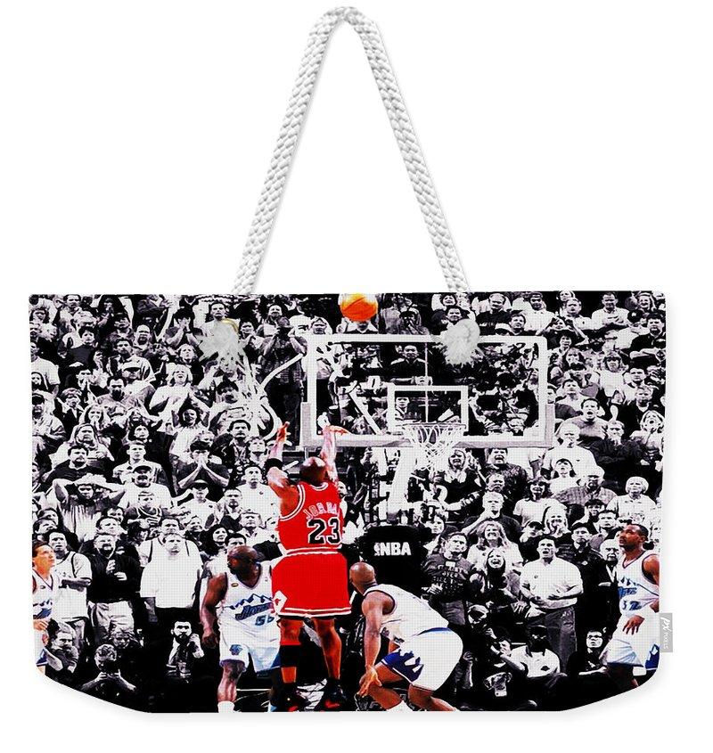 Michael Jordan Weekender Tote Bag featuring the digital art The Last Shot by Brian Reaves