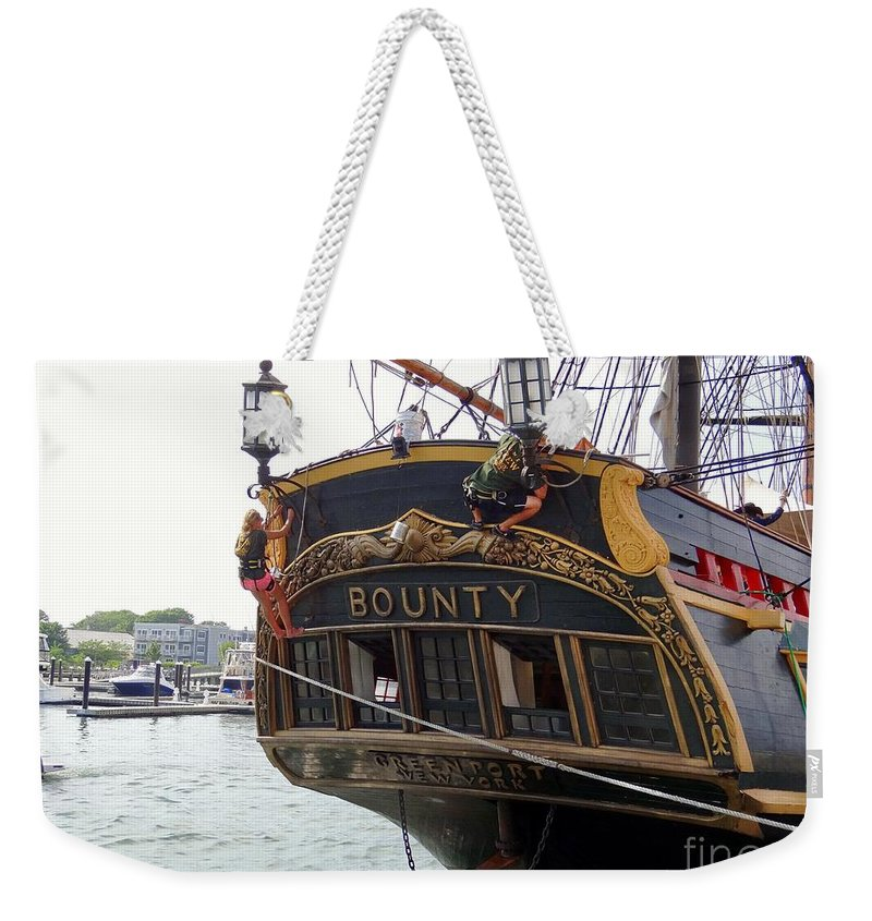 Tall Ships Weekender Tote Bag featuring the photograph The Late Great Bounty by Ed Weidman