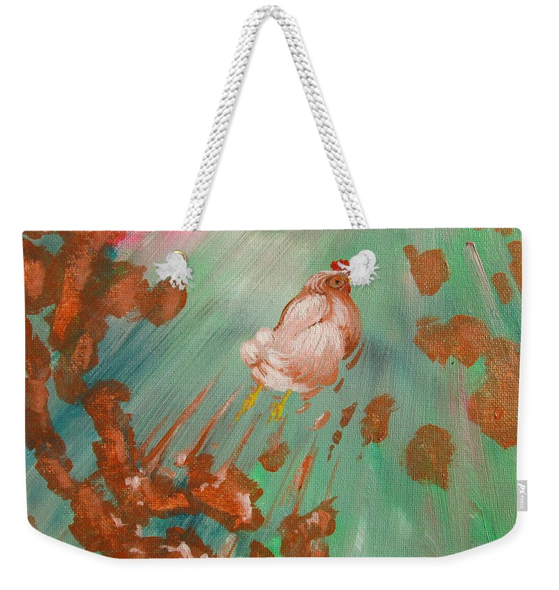 Chicken Weekender Tote Bag featuring the painting The Launch by Jeff Seaberg