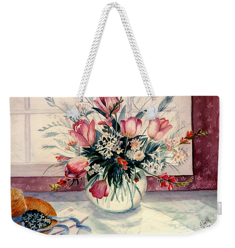 Watercolor Still Life Weekender Tote Bag featuring the painting The Letter by Marilyn Smith