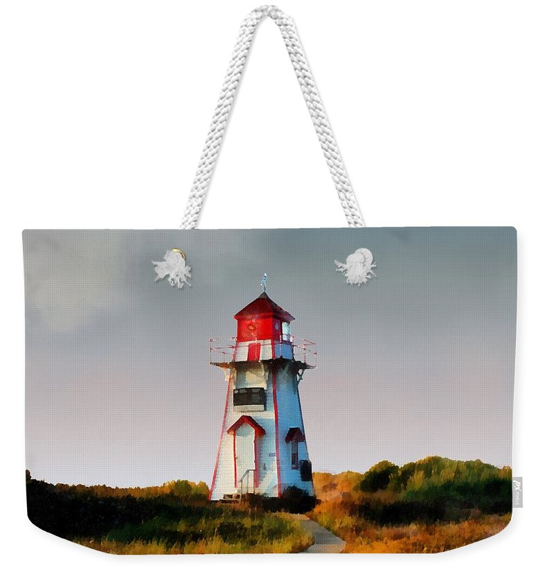 Landscape Weekender Tote Bag featuring the painting The Light At Covehead Harbour by RC DeWinter