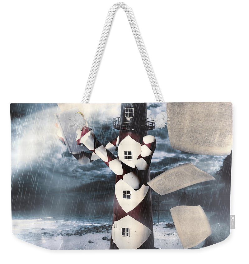 Surreal Weekender Tote Bag featuring the digital art The Lighthouse And The Fishermans Tale by Jorgo Photography - Wall Art Gallery