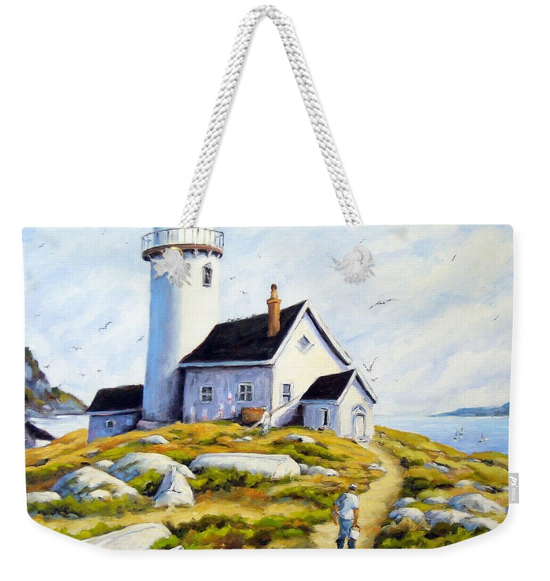 Fishing Boats; Fishermen; Bot Weekender Tote Bag featuring the painting The Lighthouse Keeper by Richard T Pranke