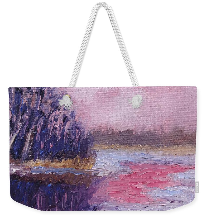 Landscape Weekender Tote Bag featuring the painting The Lion's Last Breath by Jason Williamson