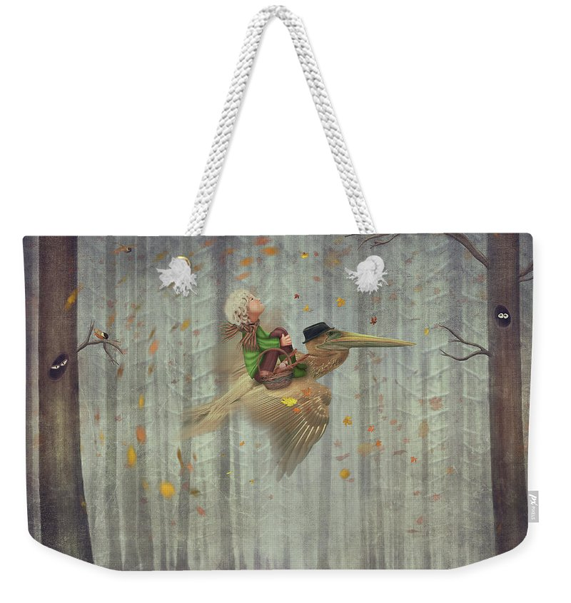 Flowerbed Weekender Tote Bag featuring the digital art The Little Boy And Brown Pelican Fly by Maroznc