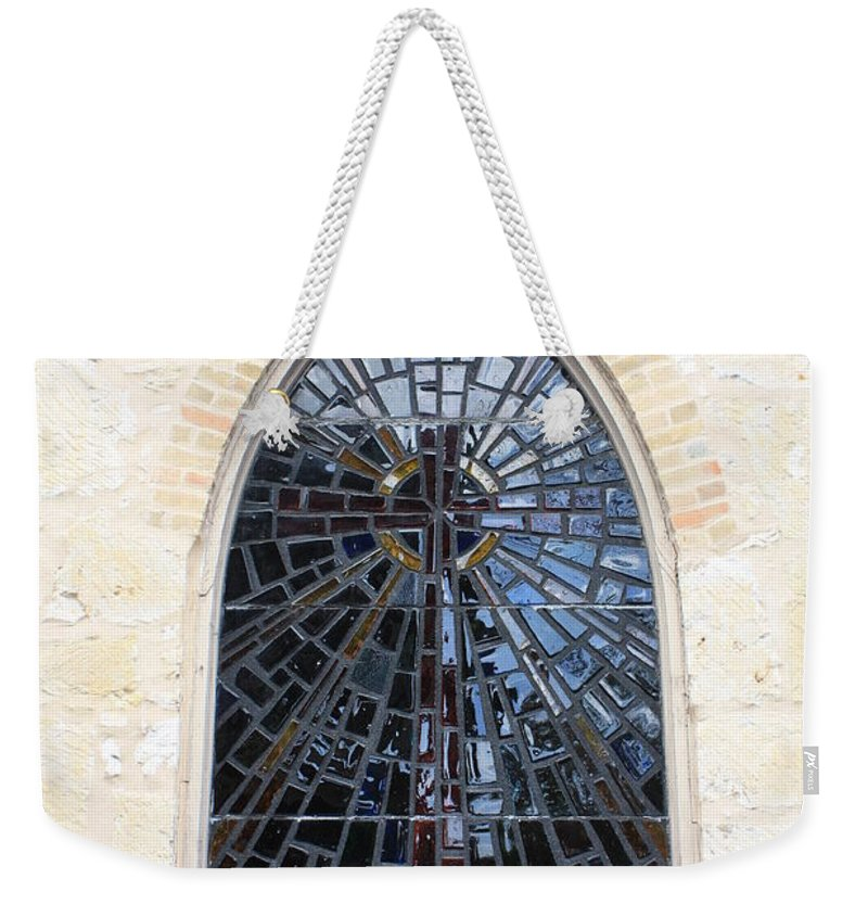 The Little Church In San Antonio Weekender Tote Bag featuring the photograph The Little Church Window by Carol Groenen