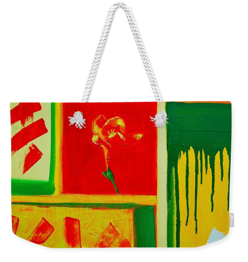 Flower Weekender Tote Bag featuring the painting The Little Flower by Ana Maria Edulescu