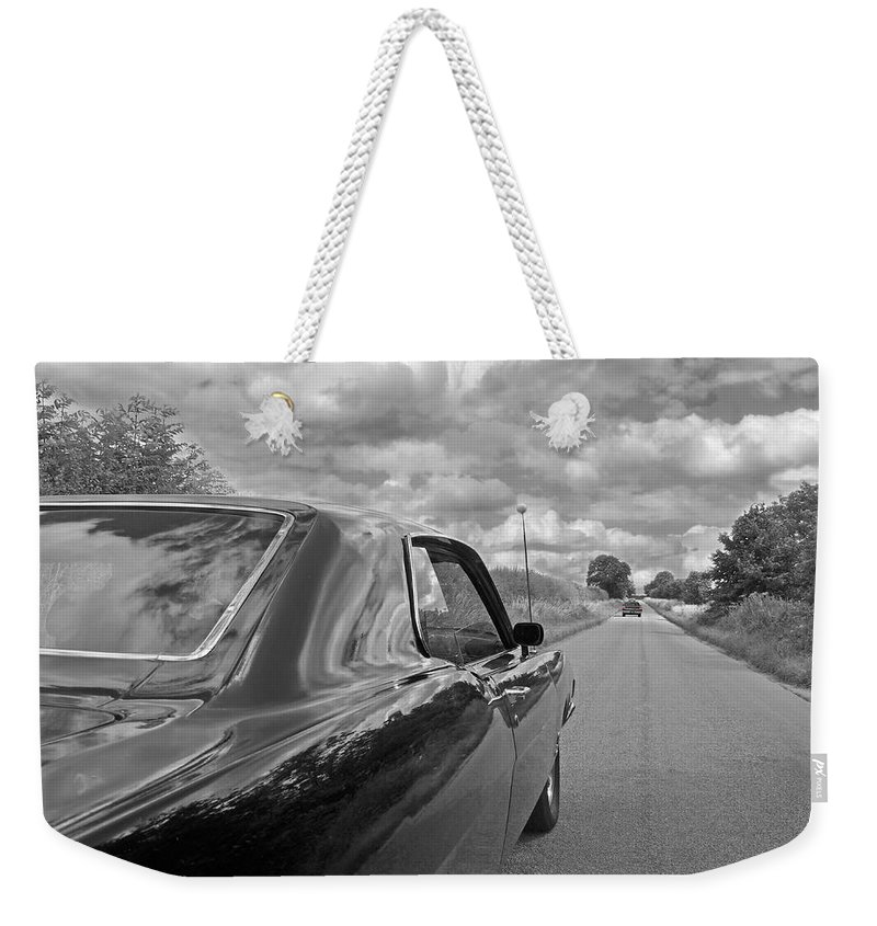 Vintage Car Weekender Tote Bag featuring the photograph The Long Road Home - Ford Torino Cobra Jet by Gill Billington