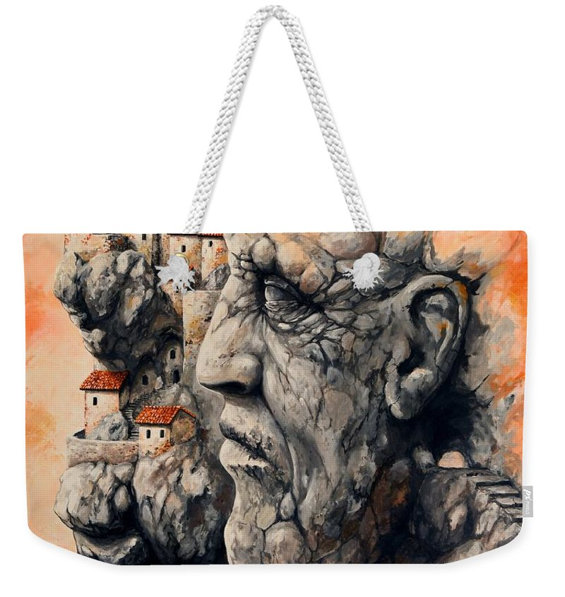 Tale City Weekender Tote Bag featuring the painting The Lost City - The Sentinel by Emerico Imre Toth