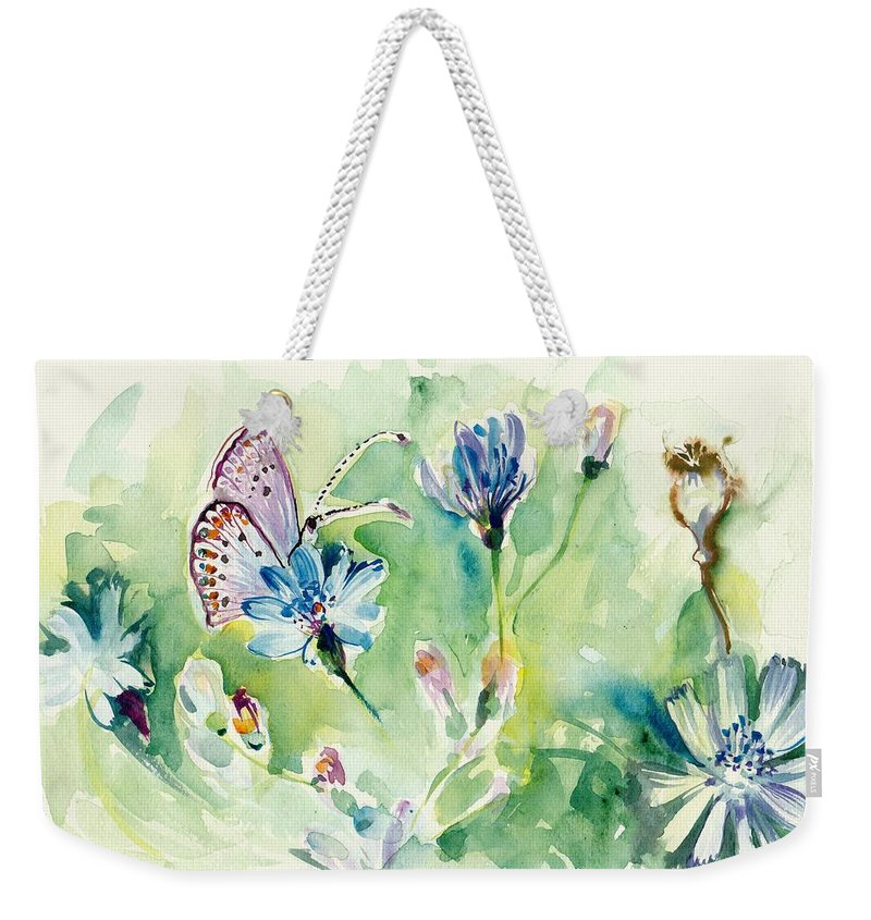 Butterfly And Chicory Weekender Tote Bag featuring the painting The Love Between Butterfly And Chicory by Tiberiu Soos