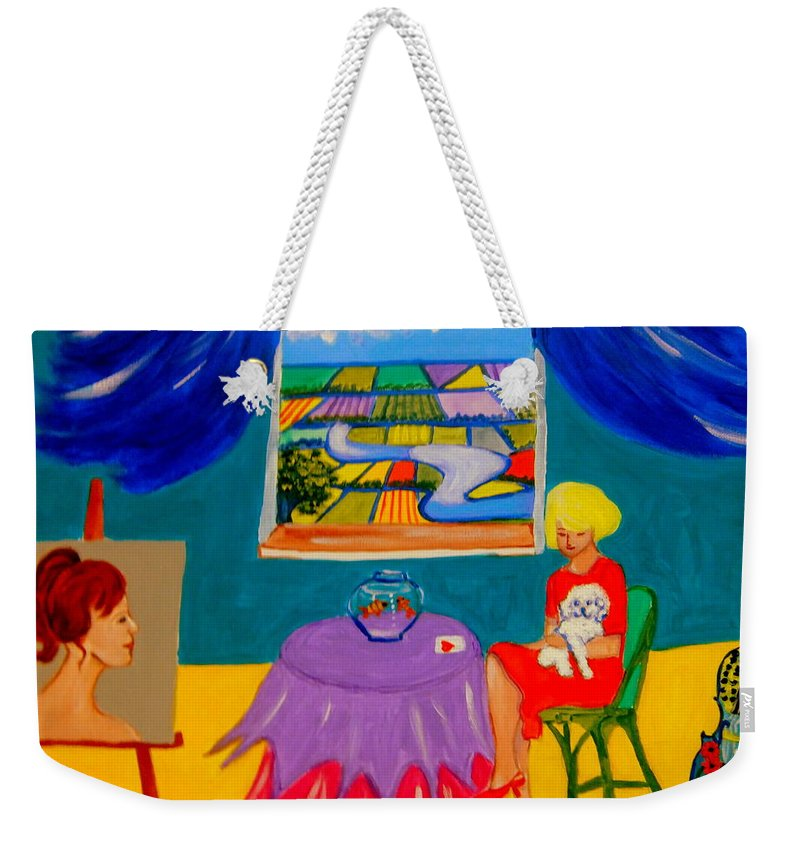 Dogs Weekender Tote Bag featuring the painting The Lucky Card by Rusty Gladdish