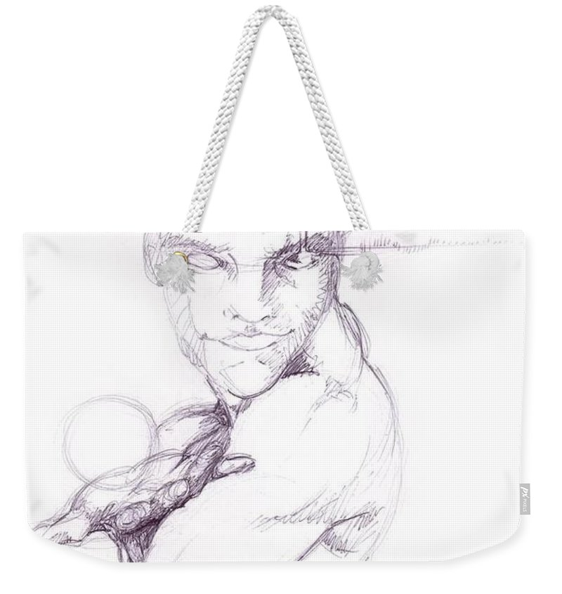 Pen Weekender Tote Bag featuring the drawing The Lucky Gift by Isaac Feliciano