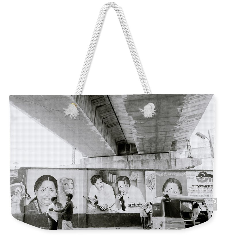 Urban Weekender Tote Bag featuring the photograph The Madras Street by Shaun Higson