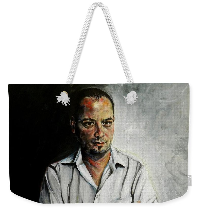 Marketing Weekender Tote Bag featuring the painting The Marketing Man by Jolante Hesse