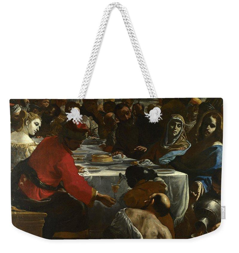 Mattia Preti Weekender Tote Bag featuring the painting The Marriage At Cana by Mattia Preti