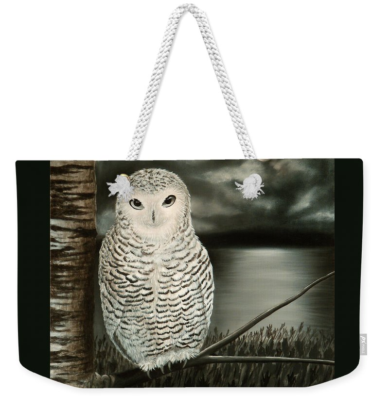 Owl Weekender Tote Bag featuring the painting The Marsh At Night by Liz Boston
