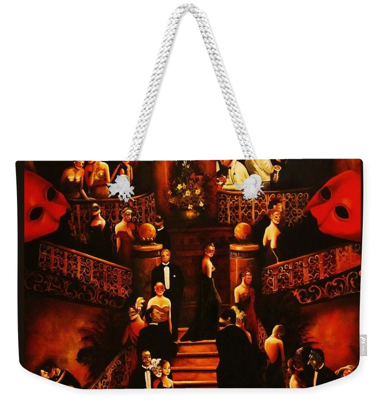 Redmask Weekender Tote Bag featuring the painting Masquerade Ball by Dalgis Edelson