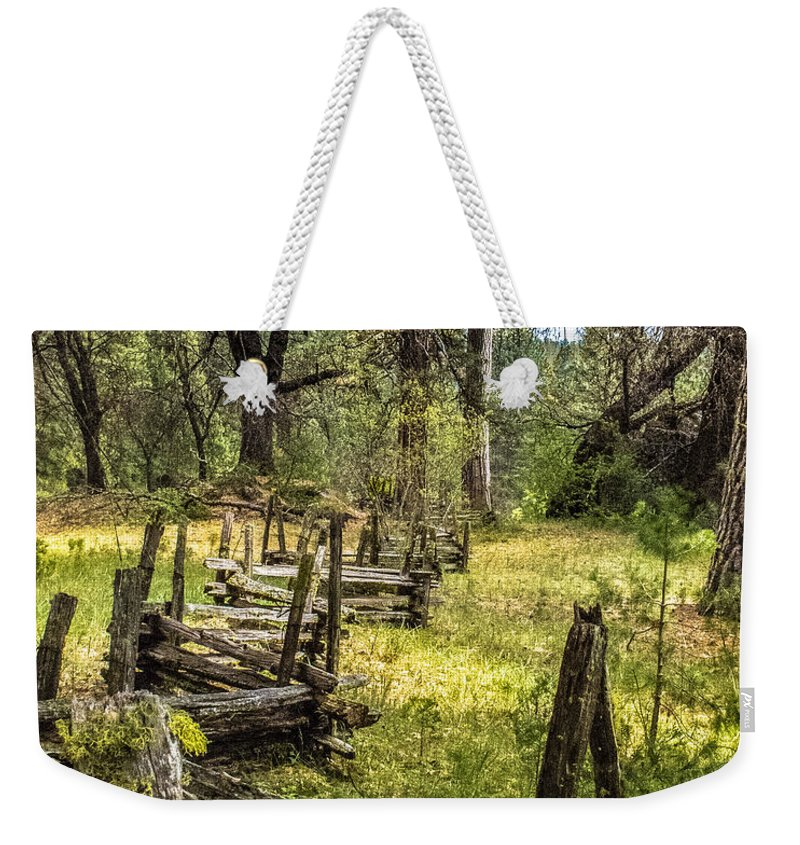 Yosemite National Park Weekender Tote Bag featuring the photograph The Meadow Fence by Susan Eileen Evans