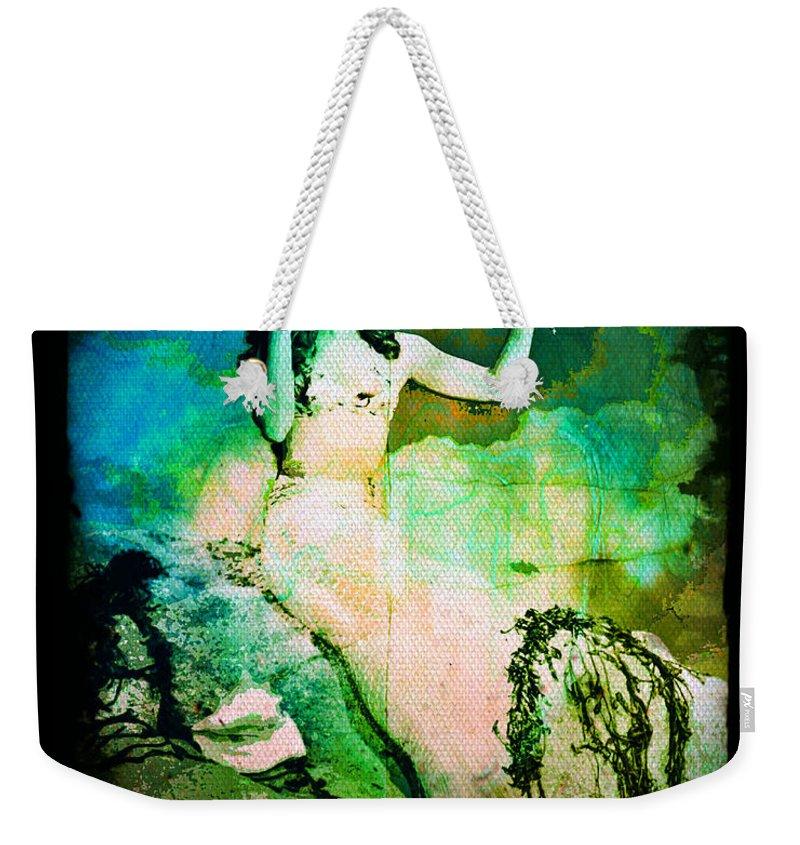 Mermaid Weekender Tote Bag featuring the digital art The Mermaid Mirror by Absinthe Art By Michelle LeAnn Scott