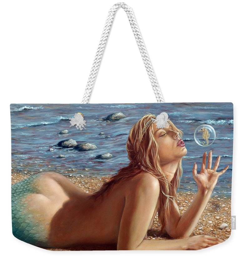 Seahorse Weekender Tote Bag featuring the painting The Mermaids Friend by John Silver
