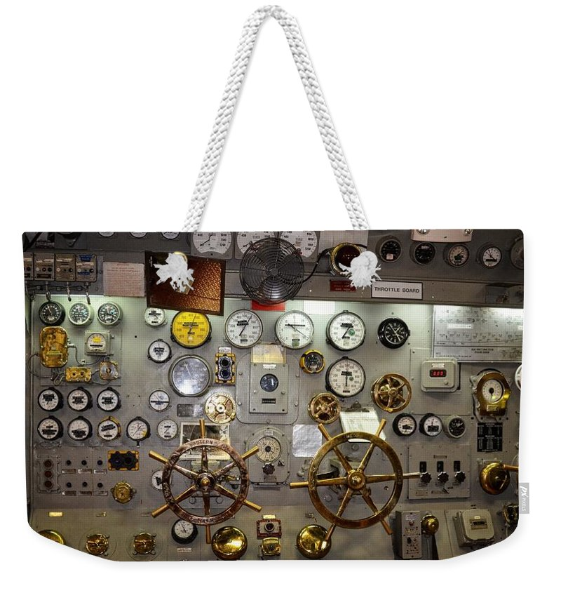San Diego Weekender Tote Bag featuring the photograph The Midway Throttle Board by Image Takers Photography LLC - Carol Haddon