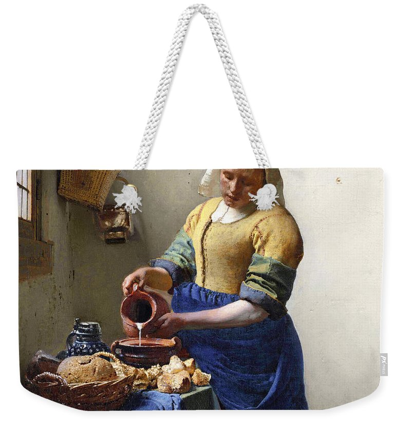 Female Portrait; Kitchen; Scullery; Interior; Bread Basket; Table; Loaf; Bonnet; Servant; Pouring; Milk; Maid; Domestic; Rustic; La Laitiere Weekender Tote Bag featuring the painting The Milkmaid by Jan Vermeer