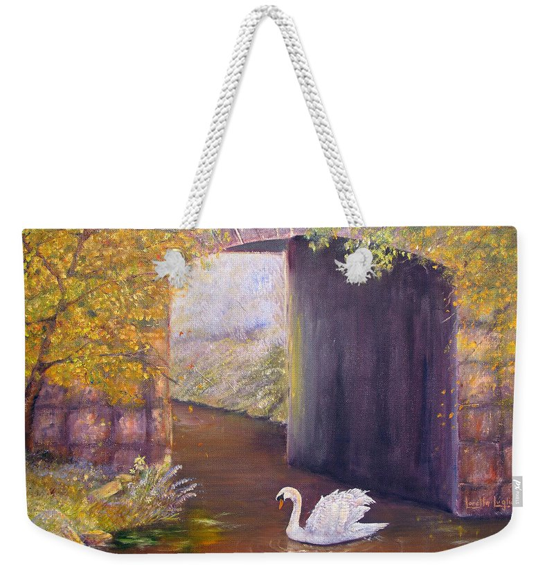 Swan Weekender Tote Bag featuring the painting The Mill Swan by Loretta Luglio