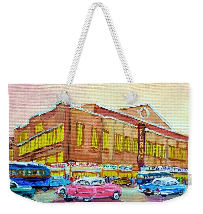Montreal Weekender Tote Bag featuring the painting The Montreal Forum by Carole Spandau