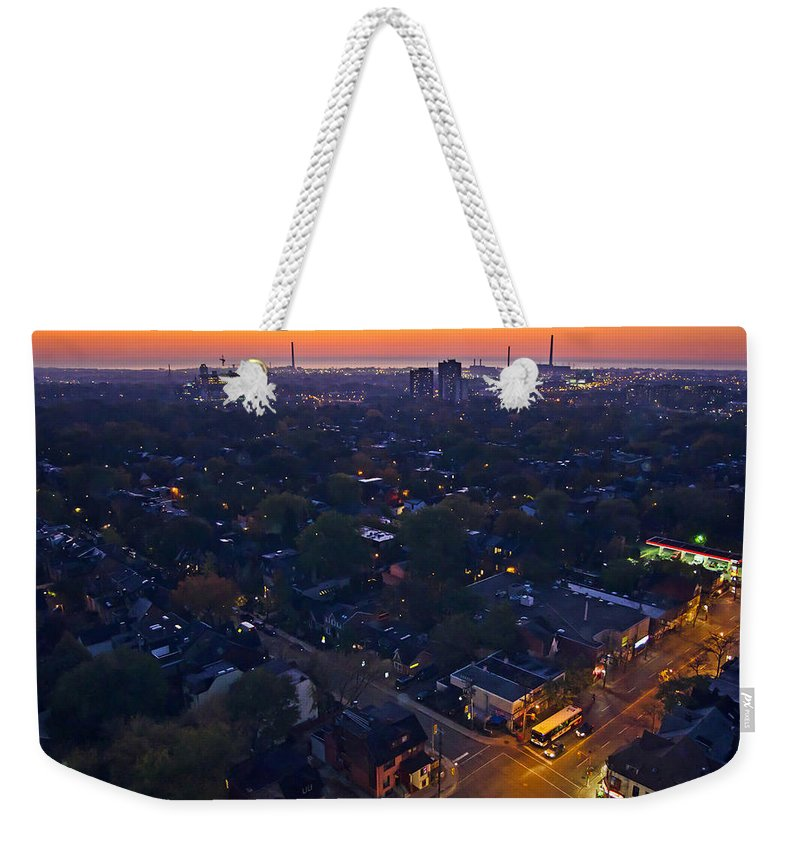 City Weekender Tote Bag featuring the photograph The Morning Bus by Keith Armstrong