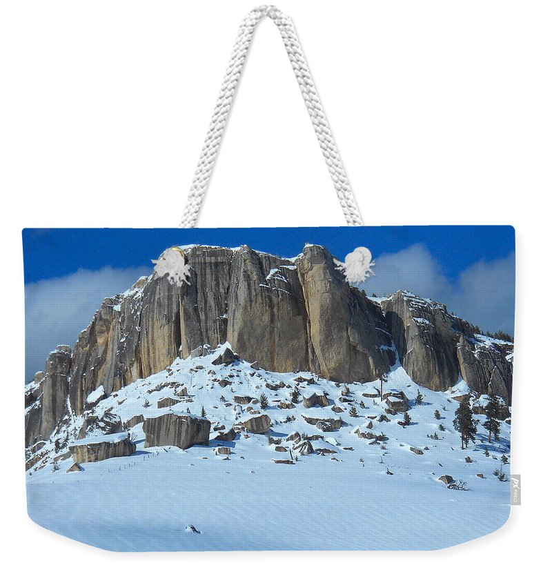Steamship Point Weekender Tote Bag featuring the photograph The Mountain Citadel by Michele Myers
