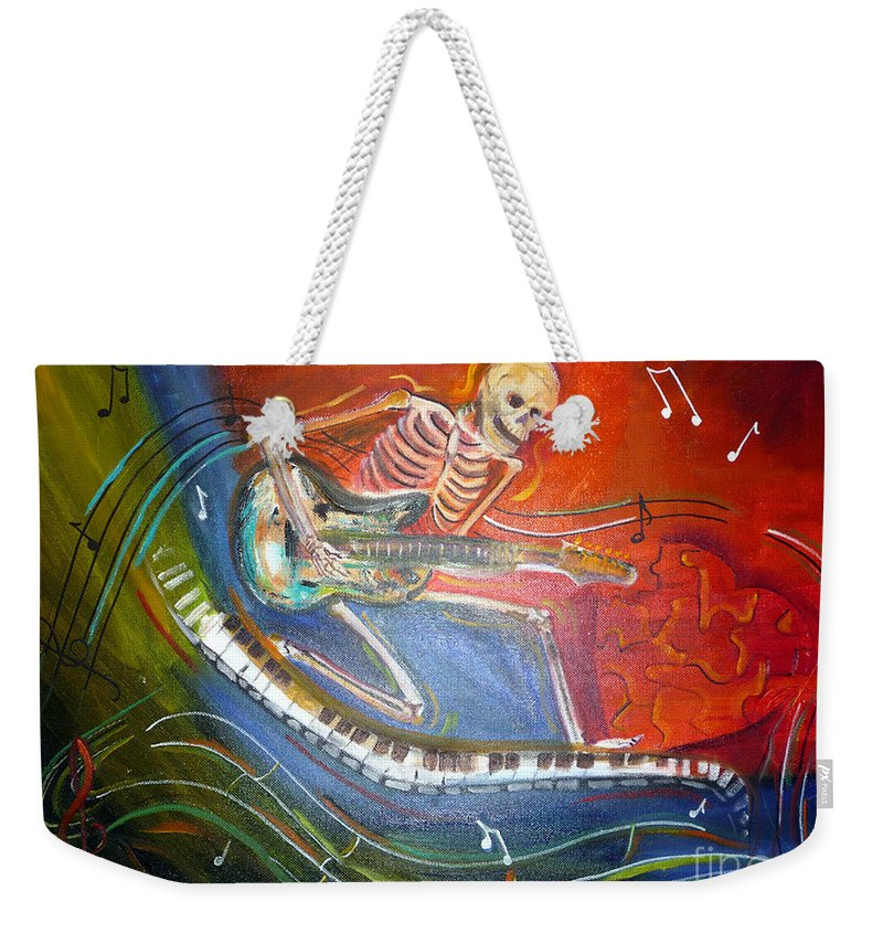 Halloween Weekender Tote Bag featuring the painting The Music Must Go On by To-Tam Gerwe