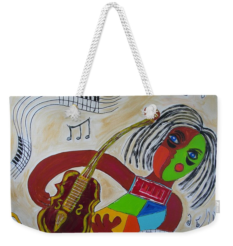 Abstract Music Violin Viola Musical Notes Picasso Joy Green Brown Gold Blue Weekender Tote Bag featuring the painting The Music Practitioner by Sharyn Winters