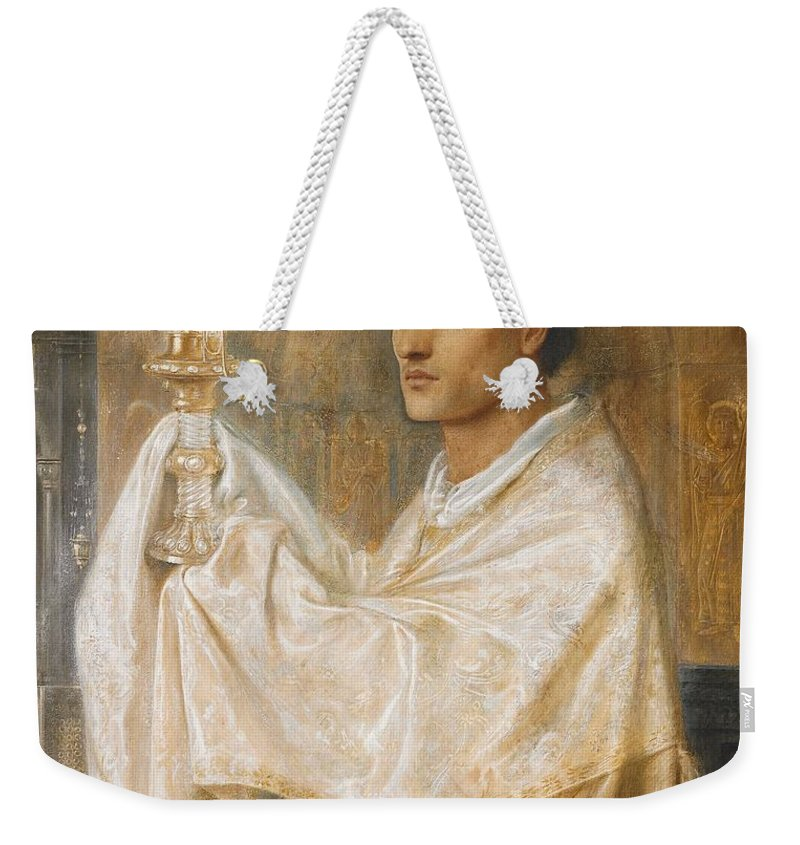 Mystery Weekender Tote Bag featuring the painting The Mystery Of Faith by Simeon Solomon
