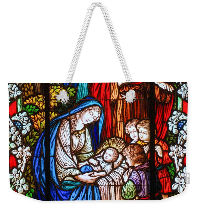Stained Glass Window Weekender Tote Bag featuring the photograph The Nativity by Larry Ward