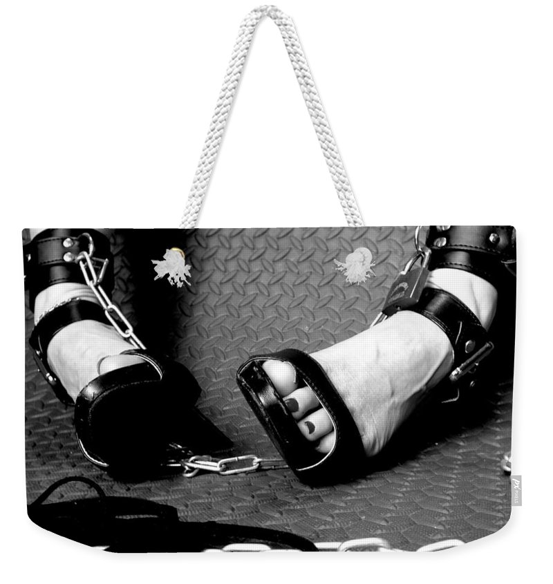 Shoes Stiletto Sexy Checker Plate Buckle Chain Bad Girl Fetish Bondage Dungeon Whip S&m Heels Weekender Tote Bag featuring the photograph The Naughty Corner by Guy Pettingell